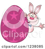 Clipart Of A Pink Rabbit Waving Around A Giant Pink Star Easter Egg Royalty Free Vector Illustration