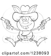 Clipart Of A Black And White Rabbit Cowboy Jumping With Pistols Royalty Free Vector Illustration by Hit Toon