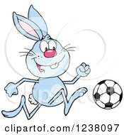Clipart Of A Blue Rabbit Playing Soccer Royalty Free Vector Illustration