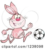Clipart Of A Pink Rabbit Playing Soccer Royalty Free Vector Illustration