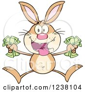 Clipart Of A Brown Rabbit Jumping With Cash Money Royalty Free Vector Illustration