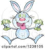 Clipart Of A Blue Rabbit Jumping With Cash Money Royalty Free Vector Illustration