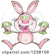 Clipart Of A Pink Rabbit Jumping With Cash Money Royalty Free Vector Illustration
