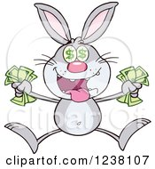Clipart Of A Gray Rabbit Jumping With Cash Money Royalty Free Vector Illustration