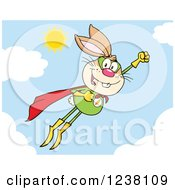 Clipart Of A Brown Rabbit Super Hero Flying In The Sky Royalty Free Vector Illustration