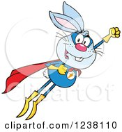 Clipart Of A Blue Rabbit Super Hero Flying Royalty Free Vector Illustration