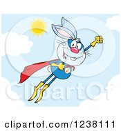 Clipart Of A Blue Rabbit Super Hero Flying In The Sky Royalty Free Vector Illustration