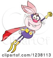 Clipart Of A Pink Rabbit Super Hero Flying Royalty Free Vector Illustration