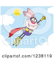 Clipart Of A Pink Rabbit Super Hero Flying In The Sky Royalty Free Vector Illustration