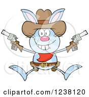 Blue Rabbit Cowboy Jumping With Pistols
