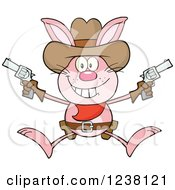 Pink Rabbit Cowboy Jumping With Pistols