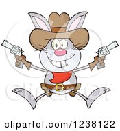 Gray Rabbit Cowboy Jumping With Pistols