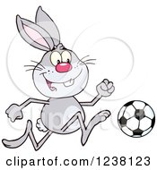 Clipart Of A Gray Rabbit Playing Soccer Royalty Free Vector Illustration by Hit Toon