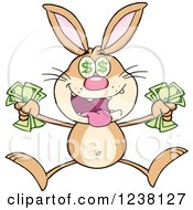 Clipart Of A Richbrown Rabbit Jumping With Cash Money Royalty Free Vector Illustration by Hit Toon
