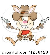 Clipart Of A Brown Rabbit Cowboy Jumping With Pistols Royalty Free Vector Illustration by Hit Toon