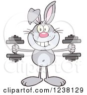 Clipart Of A Gray Rabbit Working Out With Dumbbells Royalty Free Vector Illustration by Hit Toon