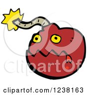 Clipart Of A Red Bomb Royalty Free Vector Illustration by lineartestpilot