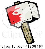 Clipart Of A Bloody Hammer Royalty Free Vector Illustration by lineartestpilot