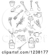 Clipart Of Black And White Garden Tools Royalty Free Vector Illustration