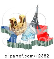 Tourist Attractions Of Notre Dame De Paris Cathedral Eiffel Tower And The Louvre Pyramid Over A Map And French Flag Clipart Illustration