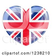 Clipart Of A 3d Reflective Union Jack British Flag Heart Royalty Free Vector Illustration