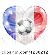 Clipart Of A 3d French Flag Heart And Soccer Ball Royalty Free Vector Illustration by AtStockIllustration
