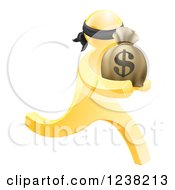 Clipart Of A 3d Gold Robber Carrying A Money Bag Royalty Free Vector Illustration by AtStockIllustration