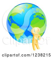 Clipart Of A 3d Gold Man Thinking By An Earth Globe Royalty Free Vector Illustration