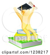 3d Gold Person Graduate With A Diploma Cheering And Sitting On A Stack Of Books