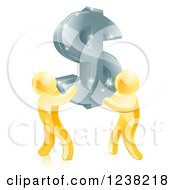 Clipart Of 3d Gold Men Carrying A Silver Dollar Symbol Royalty Free Vector Illustration
