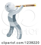 Clipart Of A 3d Silverman Viewing Through A Spyglass Telescope Royalty Free Vector Illustration