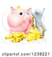 Clipart Of A 3d Cheering Silver Man With Coins And A Giant Piggy Bank Royalty Free Vector Illustration