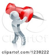 Clipart Of A 3d Silver Man Carrying A Giant Pin Royalty Free Vector Illustration by AtStockIllustration