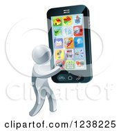 Clipart Of A 3d Silver Man Carrying A Large Smart Phone Royalty Free Vector Illustration