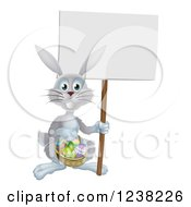 Clipart Of A Gray Easter Bunny Holding A Sign And Basket Royalty Free Vector Illustration