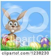 Clipart Of A Brown Easter Bunny With A Basket And Eggs In Grass Over Sky Royalty Free Vector Illustration