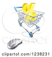 Clipart Of A 3d Computer Mouse And Cart With A Percent Symbol Royalty Free Vector Illustration by AtStockIllustration
