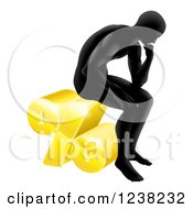 Clipart Of A Silhouetted Man Thinking And Sitting On A 3d Percent Symbol Royalty Free Vector Illustration