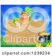 St Patricks Day Leprechaun Pointing Down To A Wooden Sign Over A Pot Of Gold Grass And Sky