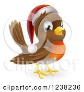 Clipart Of A Cheerful Christmas Robin In A Santa Hat Royalty Free Vector Illustration by AtStockIllustration
