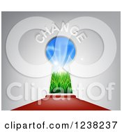 Clipart Of A Red Carpet Leading To A CHANGE Key Hole Royalty Free Vector Illustration