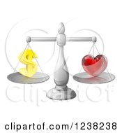 Clipart Of 3d Silver Scales Balancing Finances And Love Royalty Free Vector Illustration