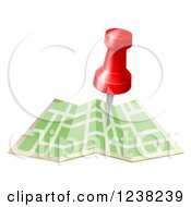 Clipart Of A Navigation Pin Over A Map Royalty Free Vector Illustration