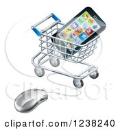 Clipart Of A 3d Computer Mouse And Cart With A Smart Phone Royalty Free Vector Illustration