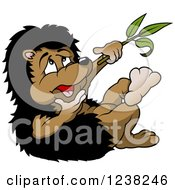 Clipart Of A Hedgehog Rubbing His Chin While Thinking And Holding A Branch Royalty Free Vector Illustration
