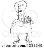 Clipart Of A Black And White Chubby Woman Eating A Bologna Sandwich Royalty Free Vector Illustration