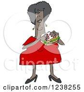 Chubby Black Woman Eating A Bologna Sandwich