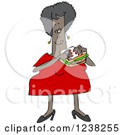 Clipart Of A Chubby Black Woman Eating A Bologna Sandwich Royalty Free Vector Illustration by djart