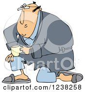 Clipart Of A White Man Kneeling In A Robe Holding Coffee Royalty Free Vector Illustration
