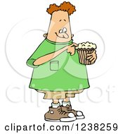 Clipart Of A Chubby White Boy Eating A Cupcake Royalty Free Vector Illustration